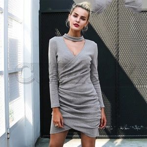 Dresses & Skirts - Grey Sexy V-neck Choker Knitted Faux Wrap Dress